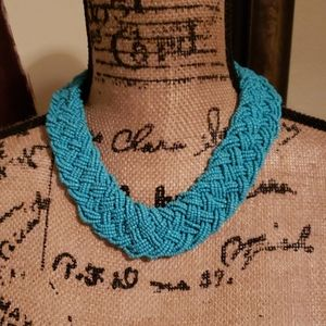 Blue braided beaded necklace
